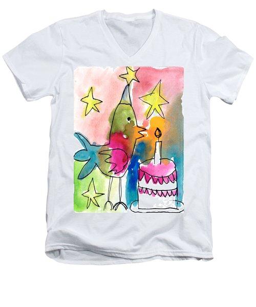 Birthday Bird Men's V-Neck T-Shirt