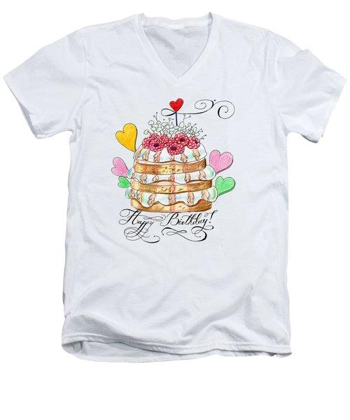 Birthday Cake Men's V-Neck T-Shirt