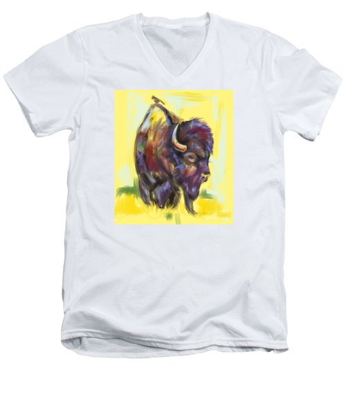 Men's V-Neck T-Shirt featuring the painting Bison And Bird by Go Van Kampen