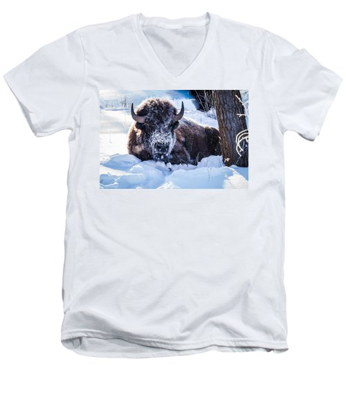 Men's V-Neck T-Shirt featuring the photograph Bison At Frozen Dawn by Yeates Photography
