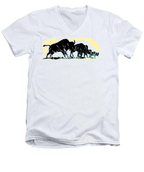 Men's V-Neck T-Shirt featuring the digital art Bison Prairie Run by Aliceann Carlton