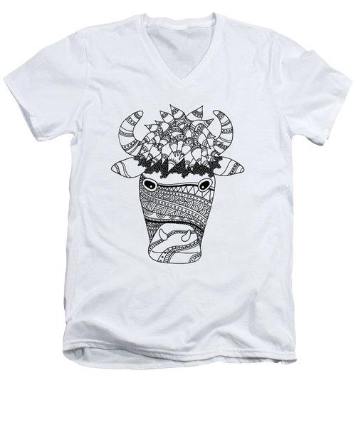Bison Men's V-Neck T-Shirt by Sarah Rosedahl