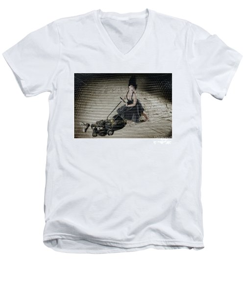 Bizarre Girl With Lawn Mower On Beach Men's V-Neck T-Shirt by Michael Edwards