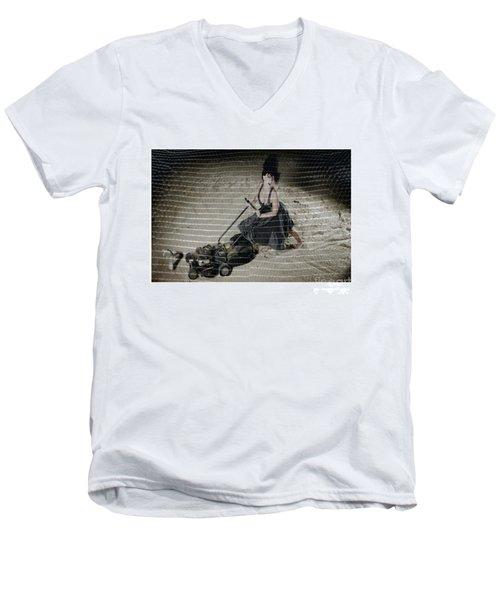Bizarre Girl With Lawn Mower On Beach Men's V-Neck T-Shirt