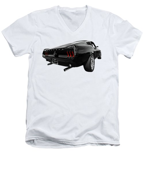 Black 1967 Mustang Men's V-Neck T-Shirt by Gill Billington