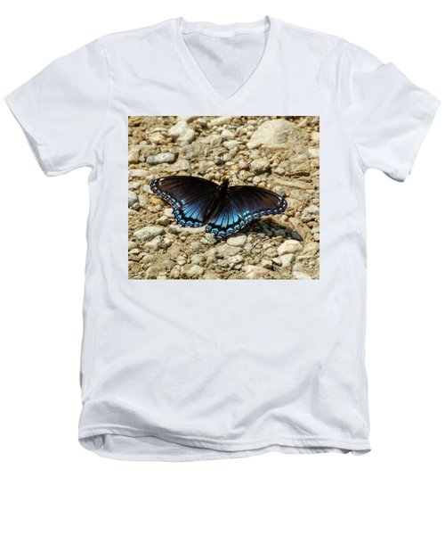 Black And Blue Monarch Butterfly Men's V-Neck T-Shirt
