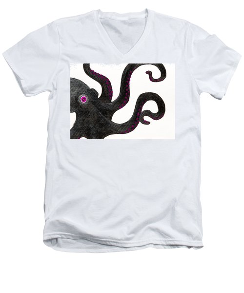 Black And Purple Octopus Men's V-Neck T-Shirt by Stefanie Forck
