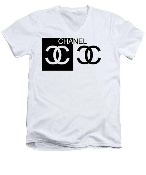 Black And White Chanel 2 Men's V-Neck T-Shirt