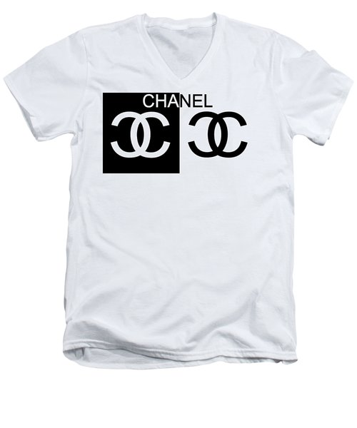 Black And White Chanel 2 Men's V-Neck T-Shirt