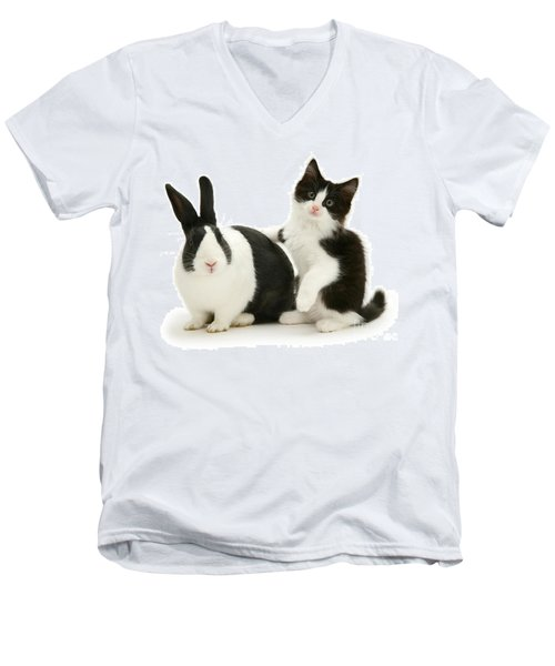 Black And White Double Act Men's V-Neck T-Shirt