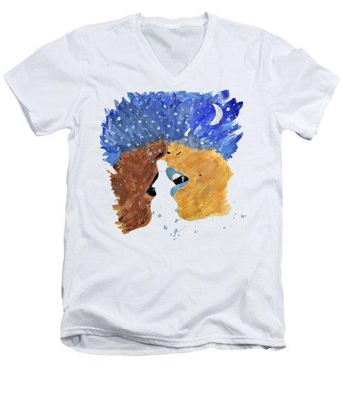 Romantic Kissing With Stars In Their Hair Men's V-Neck T-Shirt