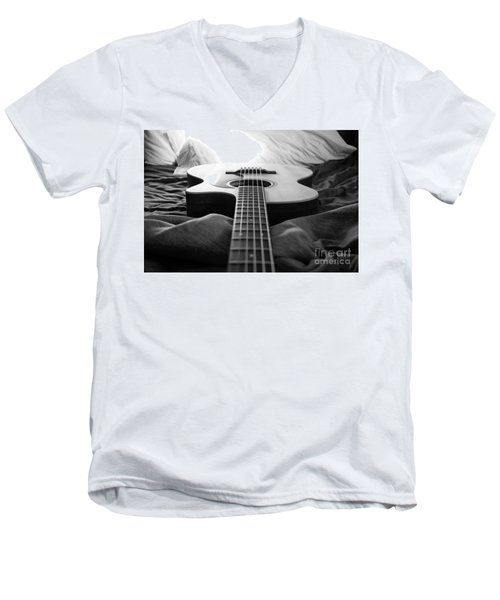 Men's V-Neck T-Shirt featuring the photograph Black And White Guitar by MGL Meiklejohn Graphics Licensing