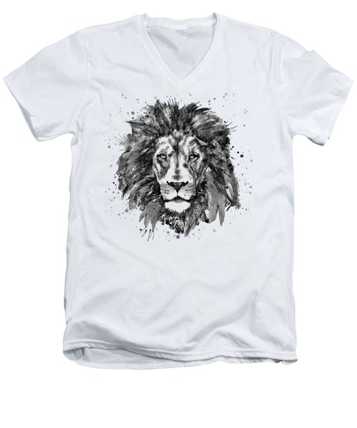 Men's V-Neck T-Shirt featuring the mixed media Black And White Lion Head  by Marian Voicu