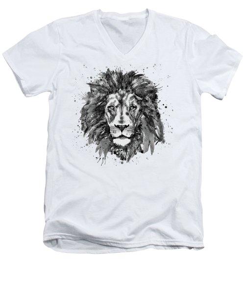 Black And White Lion Head  Men's V-Neck T-Shirt by Marian Voicu