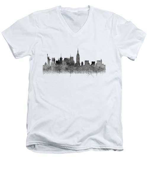 Men's V-Neck T-Shirt featuring the digital art Black And White New York Skylines Splashes And Reflections by Georgeta Blanaru