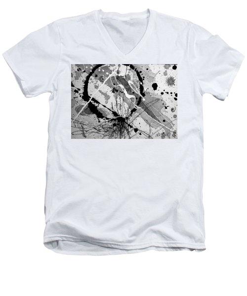 Black And White One Men's V-Neck T-Shirt by Tracy Bonin
