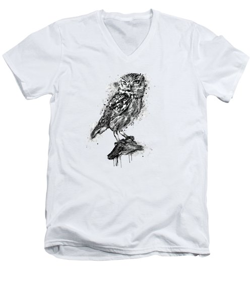 Black And White Owl Men's V-Neck T-Shirt