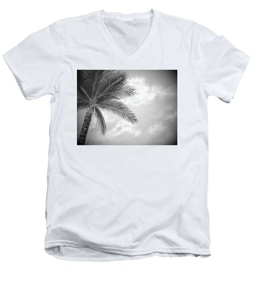 Men's V-Neck T-Shirt featuring the digital art Black And White Palm by Darren Cannell