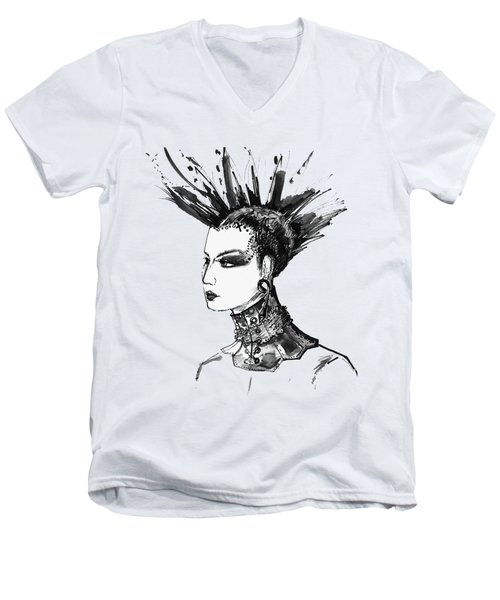 Men's V-Neck T-Shirt featuring the digital art Black And White Punk Rock Girl by Marian Voicu