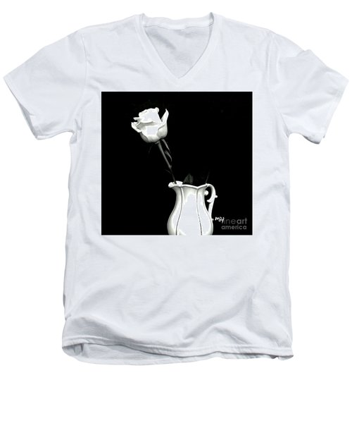 Men's V-Neck T-Shirt featuring the photograph Black And White Rose Three by Marsha Heiken