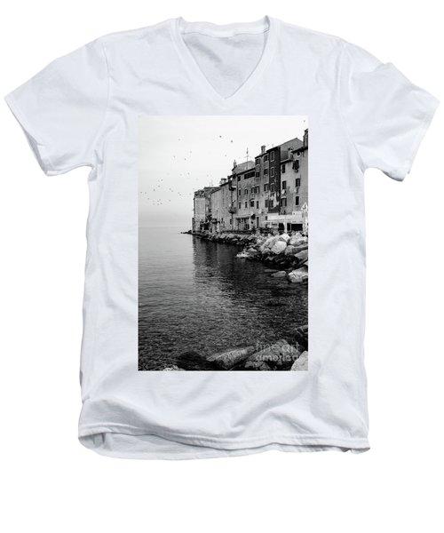 Black And White - Rovinj Venetian Buildings And Adriatic Sea, Istria, Croatia Men's V-Neck T-Shirt