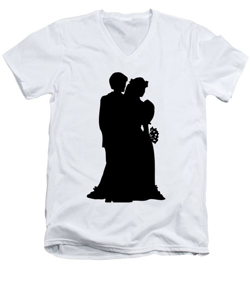 Men's V-Neck T-Shirt featuring the digital art Black And White Silhouette Of A Bride And Groom by Rose Santuci-Sofranko