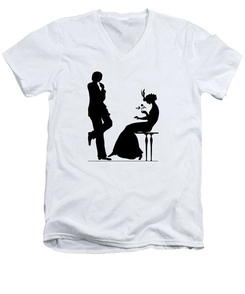 Men's V-Neck T-Shirt featuring the digital art Black And White Silhouette Of A Man Giving A Woman A Flower by Rose Santuci-Sofranko