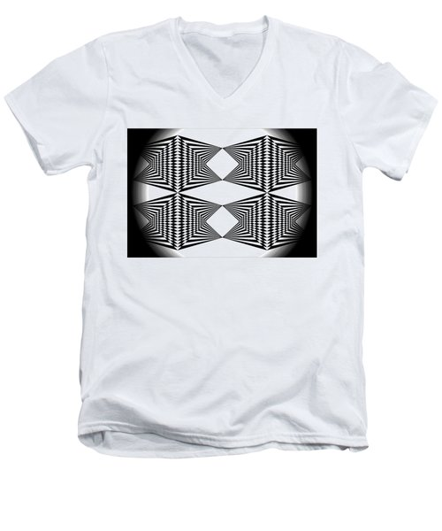 Black And White T-shirt Men's V-Neck T-Shirt by Isam Awad