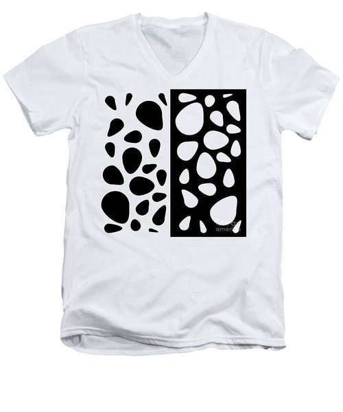 Black And White Teardrops Men's V-Neck T-Shirt