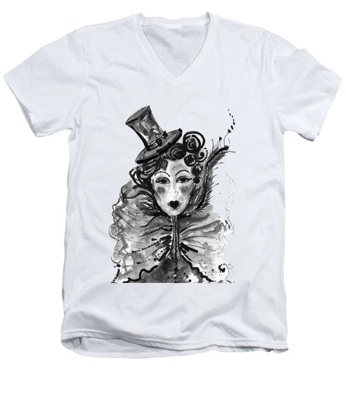 Men's V-Neck T-Shirt featuring the mixed media Black And White Watercolor Fashion Illustration by Marian Voicu