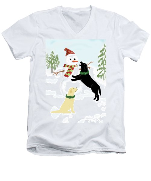 Black And Yellow Labs With Snowman Men's V-Neck T-Shirt