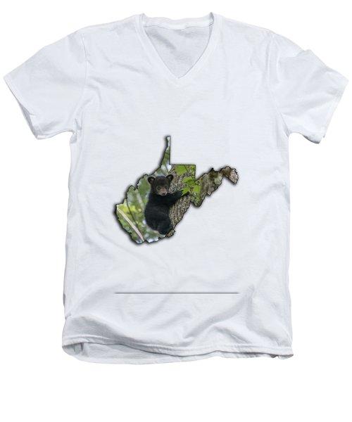 Black Bear Cub Climbing Down A Tree Men's V-Neck T-Shirt by Dan Friend