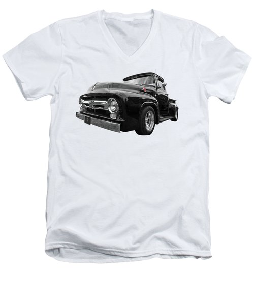 Men's V-Neck T-Shirt featuring the photograph Black Beauty - 1956 Ford F100 by Gill Billington