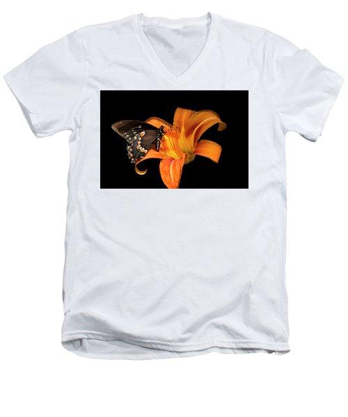 Black Beauty Butterfly Men's V-Neck T-Shirt