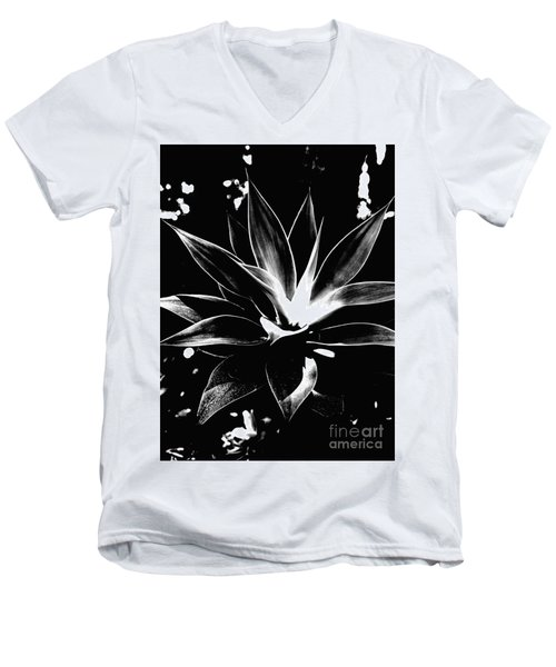 Men's V-Neck T-Shirt featuring the photograph Black Cactus  by Rebecca Harman