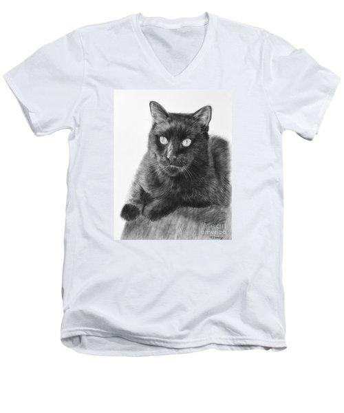 Black Cat Detailed Drawing Men's V-Neck T-Shirt
