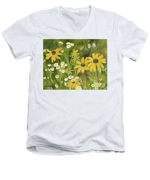 Black-eyed Susans In A Field Men's V-Neck T-Shirt