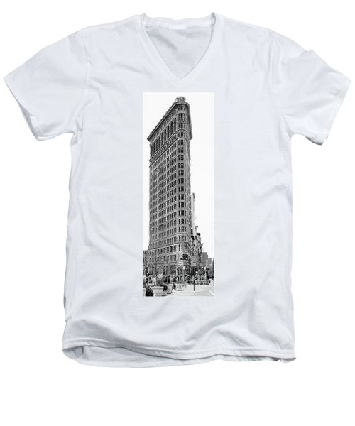 Black Flatiron Building II Men's V-Neck T-Shirt by Chuck Kuhn