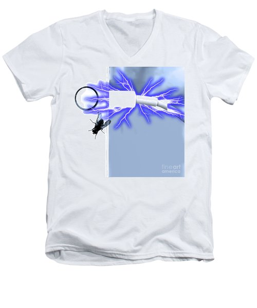 Black Fly On Tablet Men's V-Neck T-Shirt