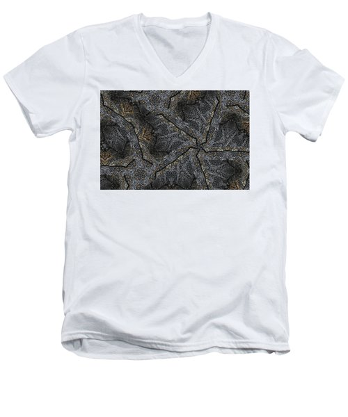 Men's V-Neck T-Shirt featuring the photograph Black Granite Kaleido #1 by Peter J Sucy