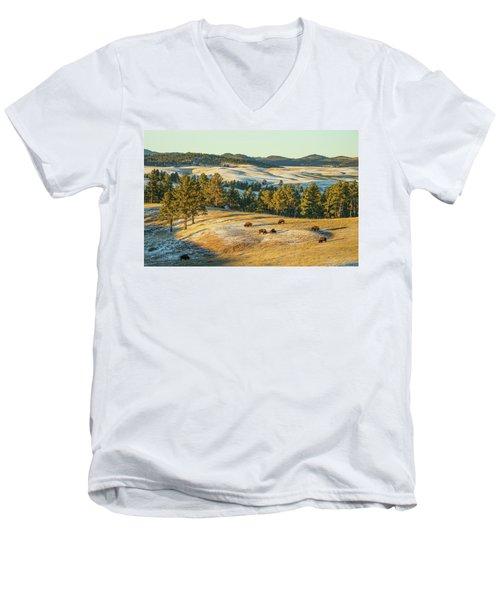 Men's V-Neck T-Shirt featuring the photograph Black Hills Bison Before Sunset by Bill Gabbert