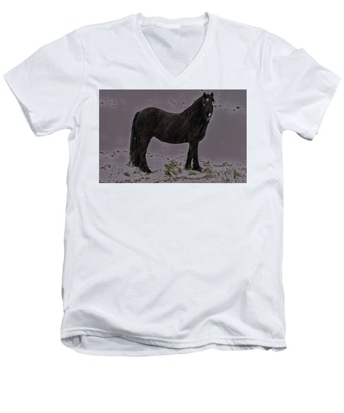 Black Horse In The Snow Men's V-Neck T-Shirt