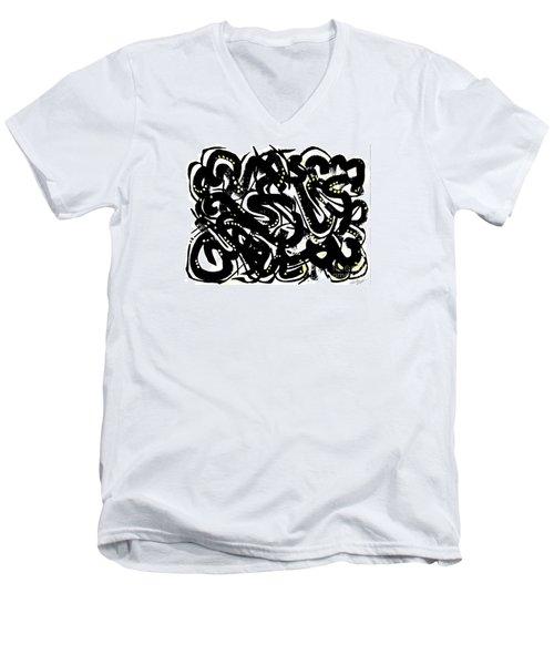 Black Ink Gold Paint Men's V-Neck T-Shirt