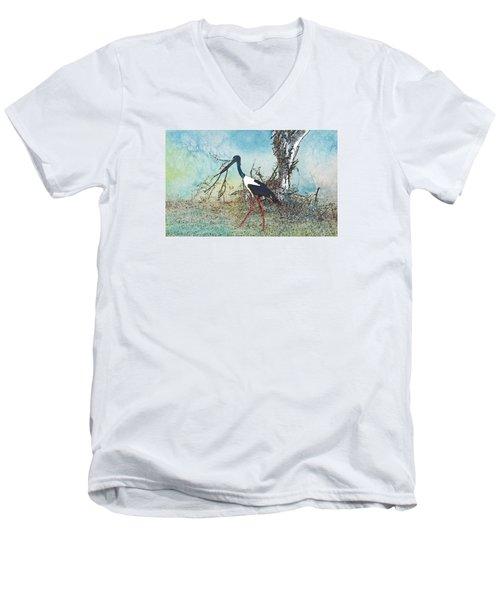 Black Neck Stork  Men's V-Neck T-Shirt by Manjot Singh Sachdeva