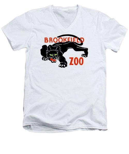 Black Panther Brookfield Zoo Ad Men's V-Neck T-Shirt by Heidi De Leeuw