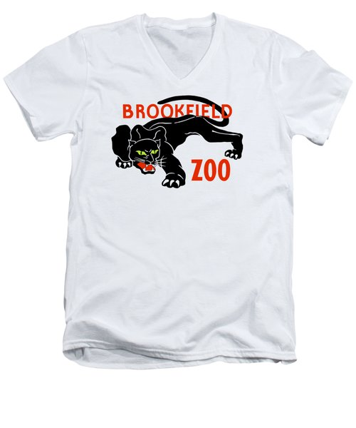 Black Panther Brookfield Zoo Ad Men's V-Neck T-Shirt
