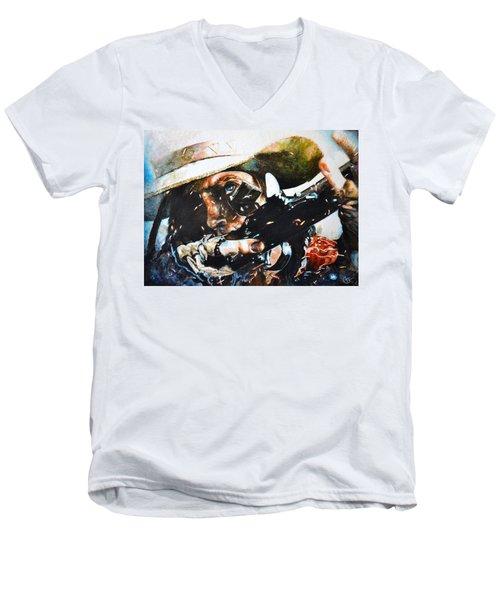 Black Powder Men's V-Neck T-Shirt by Traci Goebel
