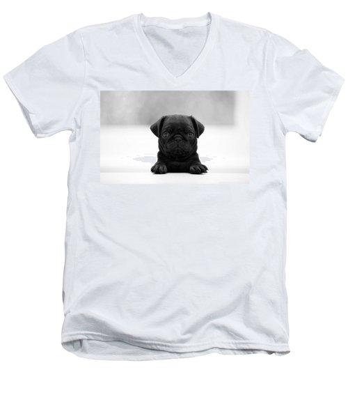 Black Pug Men's V-Neck T-Shirt