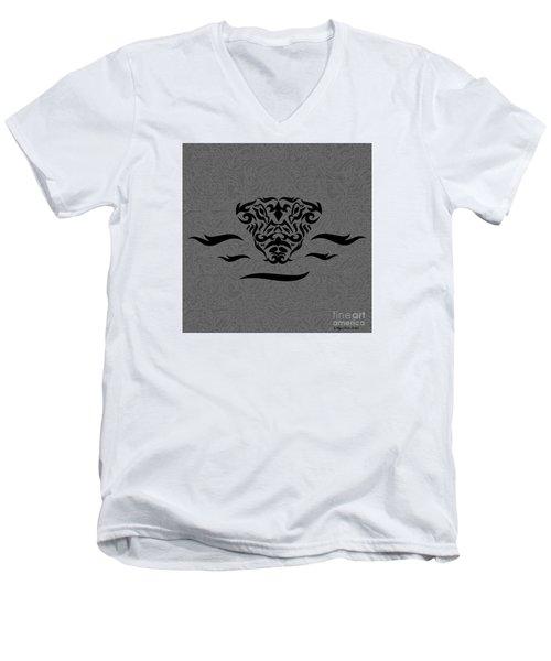 Men's V-Neck T-Shirt featuring the digital art Black Tribal Gator by Megan Dirsa-DuBois