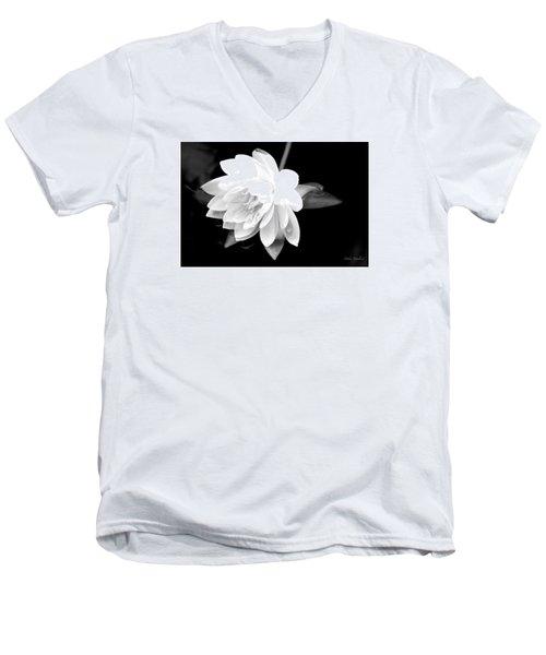 Black/white Lotus Men's V-Neck T-Shirt by Debra     Vatalaro